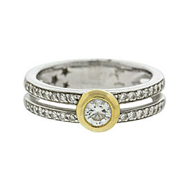 H. Stern 18k Yellow and White Gold Two Row Diamond Ring