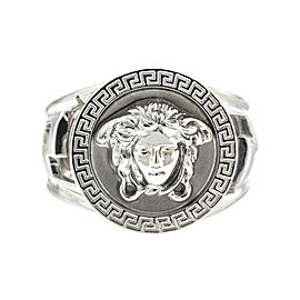 Versace 18k White Gold Logo Ring