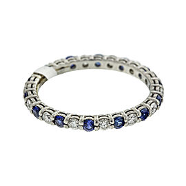 Tiffany & Co. Platinum Diamond and Blue Sapphire Eternity Band