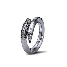 TZURI Black Gold Medium Signature Ring