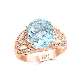 14k Rose Gold Aquamarine Ring Size 7