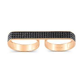 GINETTE NY 18K Rose Gold Double Black Diamond Baguette Ring