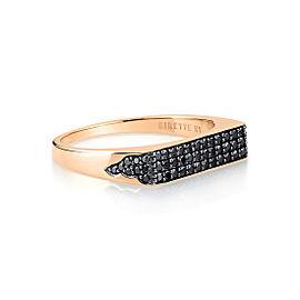 GINETTE NY 18K Rose Gold Baguette Black Diamond Signet Ring