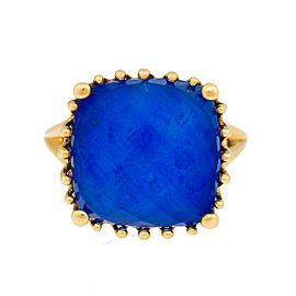18k Yg Small Cushion Lapis and Crystal, No Diamond Tivoli Ring