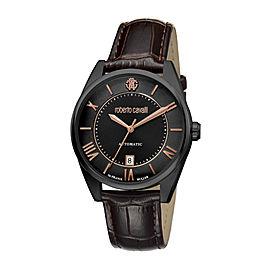 Roberto Cavalli Black Dark Brown Calfskin Leather RV1G013L0056 Watch