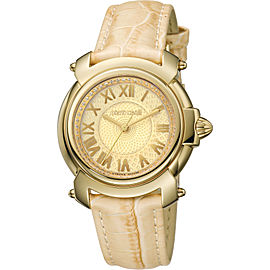 Roberto Cavalli Gold Cream Calfskin Leather RV1L005L0016 Watch
