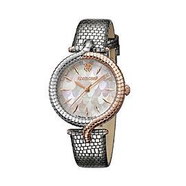 Roberto Cavalli White MOP Silver Calfskin Leather RV1L012L0056 Watch