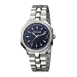 Roberto Cavalli Blue Silver Stainless Steel RV1L024M0066 Watch