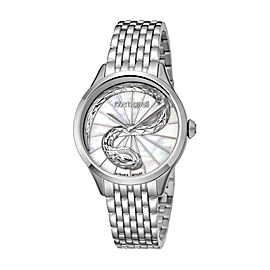 Roberto Cavalli White MOP Silver Stainless Steel RV1L036M0056 Watch
