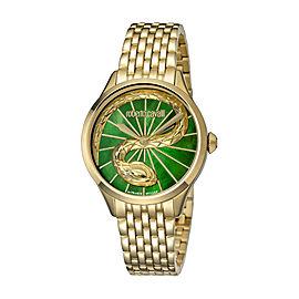 Roberto Cavalli Green MOP Gold Stainless Steel RV1L036M0066 Watch