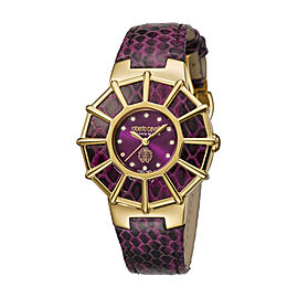 Roberto Cavalli Purple Dark Purple Calfskin Leather RV2L009L0036 Watch
