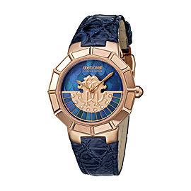Roberto Cavalli Dark Blue MOP Dark Blue Calfskin Leather RV2L011L0076 Watch