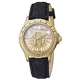 Roberto Cavalli Gold MOP Black Calfskin Leather RV2L014L0036 Watch