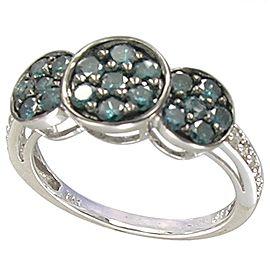 14k White Gold Blue Diamond Ring Size 7