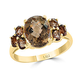 14k Yellow Gold Smoky Quartz Ring Size 7