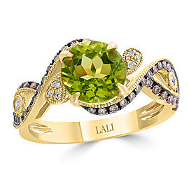 14k Yellow Gold Peridot Ring Size 7