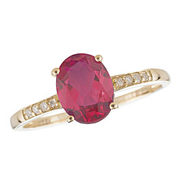14K Yellow Gold Ruby and Diamond Birthstone Ring Size 7