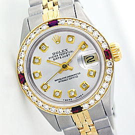 Rolex Datejust Silver Diamond And Ruby Ladies Watch