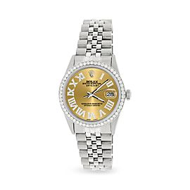 Rolex Datejust 36MM Automatic Stainless Steel Watch w/ Champagne Roman Dial & Diamond Bezel