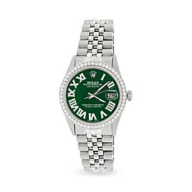 Rolex Datejust 36MM Automatic Stainless Steel Watch w/ Forest Green Roman Dial & Diamond Bezel