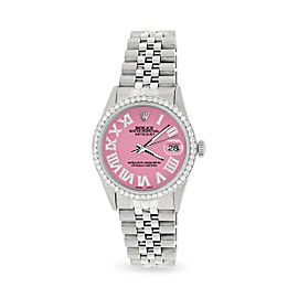 Rolex Datejust 36MM Automatic Stainless Steel Watch w/ Pink Roman Dial & Diamond Bezel