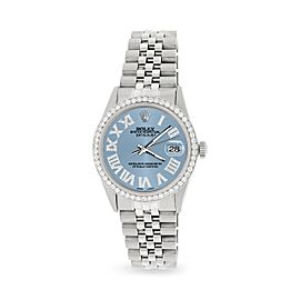 Rolex Datejust 36MM Automatic Stainless Steel Watch w/ Ice Blue Roman Dial & Diamond Bezel