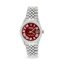 Rolex Datejust 36MM Automatic Stainless Steel Watch w/ Imperial Red Roman Dial & Diamond Bezel