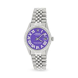 Rolex Datejust 36MM Automatic Stainless Steel Watch w/ Lavender Roman Dial & Diamond Bezel
