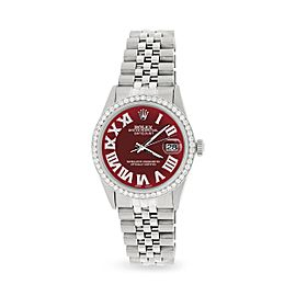 Rolex Datejust 36MM Automatic Stainless Steel Watch w/ Merlot Red Roman Dial & Diamond Bezel