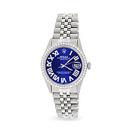 Rolex Datejust 36MM Automatic Stainless Steel Watch w/ Navy Blue Roman Dial & Diamond Bezel