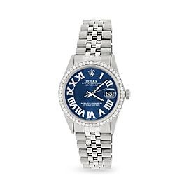 Rolex Datejust 36MM Automatic Stainless Steel Watch w/ Peacock Blue Roman Dial & Diamond Bezel