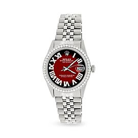 Rolex Datejust 36MM Automatic Stainless Steel Watch w/ Red Black Vignette Roman Dial & Diamond Bezel