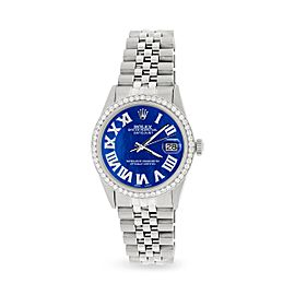 Rolex Datejust 36MM Automatic Stainless Steel Watch w/ Royal Blue MOP Roman Dial & Diamond Bezel