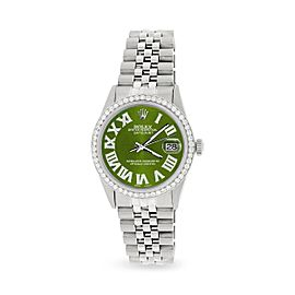 Rolex Datejust 36MM Automatic Stainless Steel Watch w/ Royal Green Roman Dial & Diamond Bezel