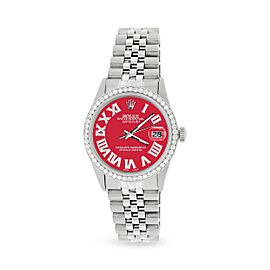 Rolex Datejust 36MM Automatic Stainless Steel Watch w/ Scarlet Red Roman Dial & Diamond Bezel