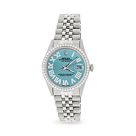 Rolex Datejust 36MM Automatic Stainless Steel Watch w/ Turquoise Roman Dial & Diamond Bezel