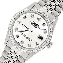 Rolex Datejust Steel 36mm Jubilee Watch/1.1CT Diamond Ivory White Dial