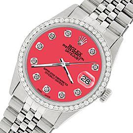 Rolex Datejust Steel 36mm Jubilee Watch/1.1CT Diamond Raspberry Punch Dial