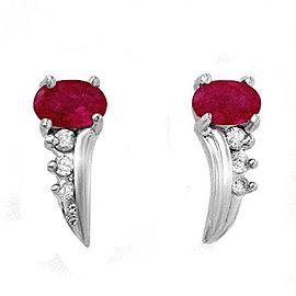 Robin Secours 10K White Gold Ruby & Diamonds Earrings