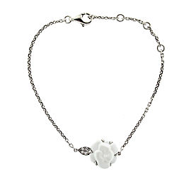 Chanel Ceramic and White Gold Camelia Flower Bracelet