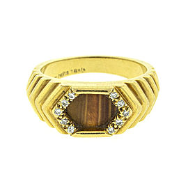 Moubussin Paris 18k Yellow Gold Diamond and Tigers Eye Ring