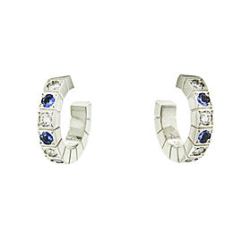 Cartier 18k White Gold Diamond and Sapphire Hoope Earrings