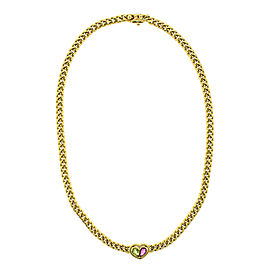 Bvlgari 18k Yellow Gold Color Stone Heart Necklace