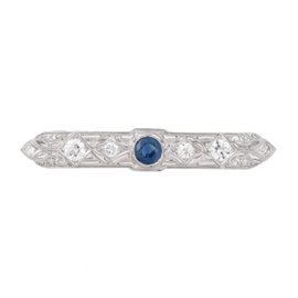 Tara Platinum With 1.70ct Sapphire and 2.45ct GH / SI Diamond Pin