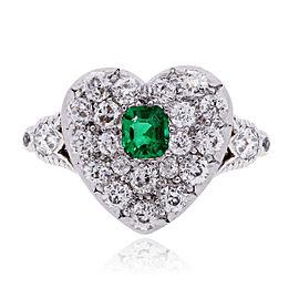 Tiffany & Co. Platinum 18K Yellow Gold Diamond and Emerald Heart Ring Size 5