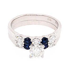 18k White Gold Sapphire and Diamond Wedding Set