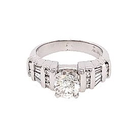 14k White Gold 1.16 carat Round and Baguette Diamond Engagement Ring