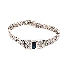 Deco Style Platinum Diamond and Sapphire Bracelet