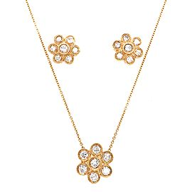 Yellow Gold Diamond Bezel Necklace and Earrings