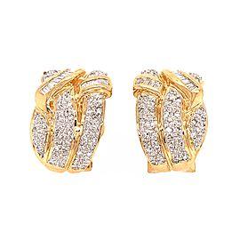 Estate 14k Yellow Gold Diamond Huggies Earrings